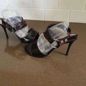 Bottega Veneta Black Strappy Heels.